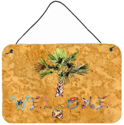 Welcome Palm Tree on Gold Wall or Door Hanging Prints 8709DS812 by Caroline's Treasures