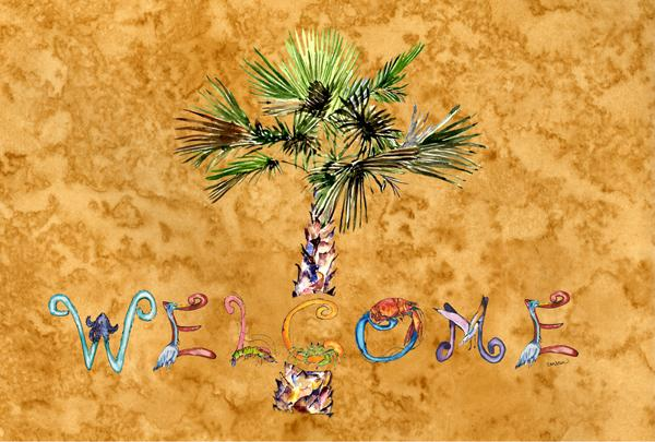 Buy this Welcome Palm Tree on Gold Fabric Placemat 8709PLMT