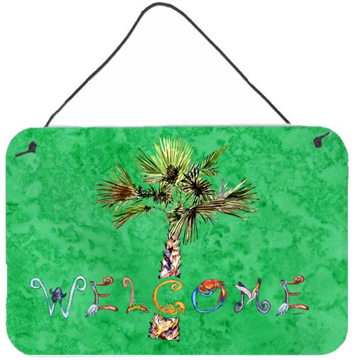 Welcome Palm Tree on Green Wall or Door Hanging Prints 8710DS812 by Caroline's Treasures