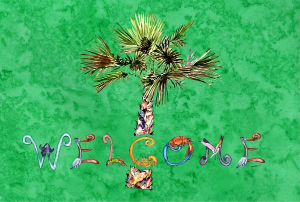Welcome Palm Tree on Green Fabric Placemat 8710PLMT by Caroline's Treasures
