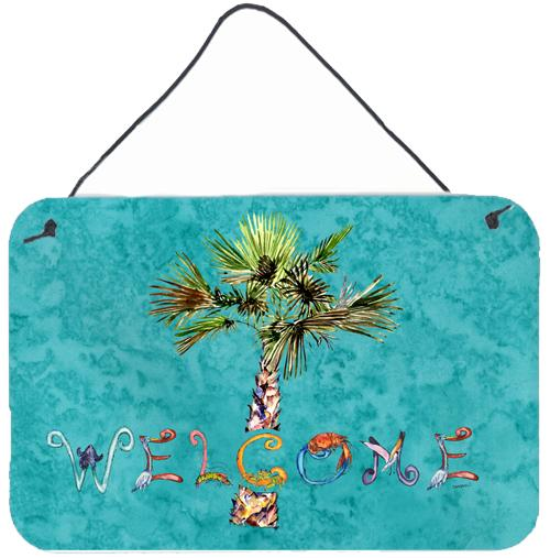 Welcome Palm Tree on Teal Wall or Door Hanging Prints 8711DS812 by Caroline's Treasures