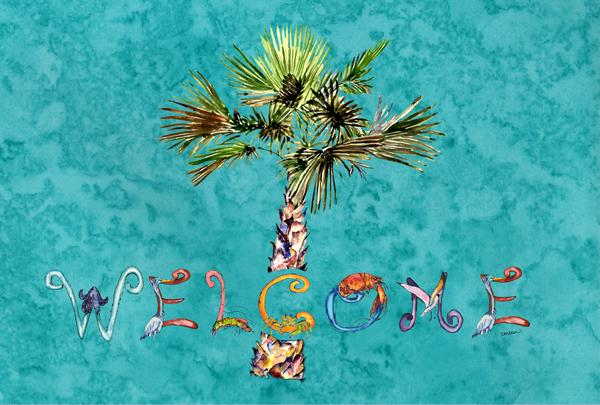 Buy this Welcome Palm Tree on Teal Fabric Placemat 8711PLMT