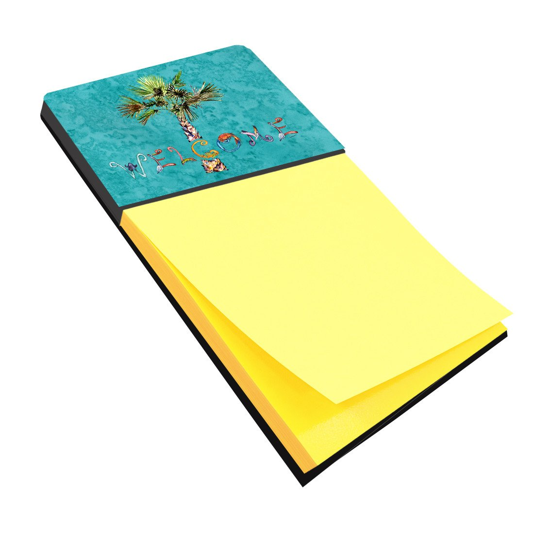 Welcome Palm Tree on Teal Sticky Note Holder 8711SN by Caroline's Treasures