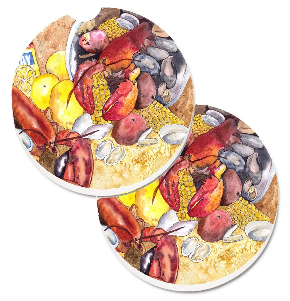 Lobster with Old Bay Set of 2 Cup Holder Car Coasters 8719CARC by Caroline's Treasures