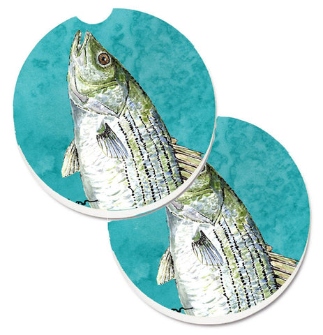 Buy this Striped Bass Fish Set of 2 Cup Holder Car Coasters 8720CARC