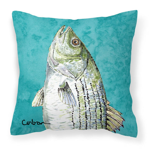 Buy this Striped Bass Fish Fabric Decorative Pillow 8720PW1414