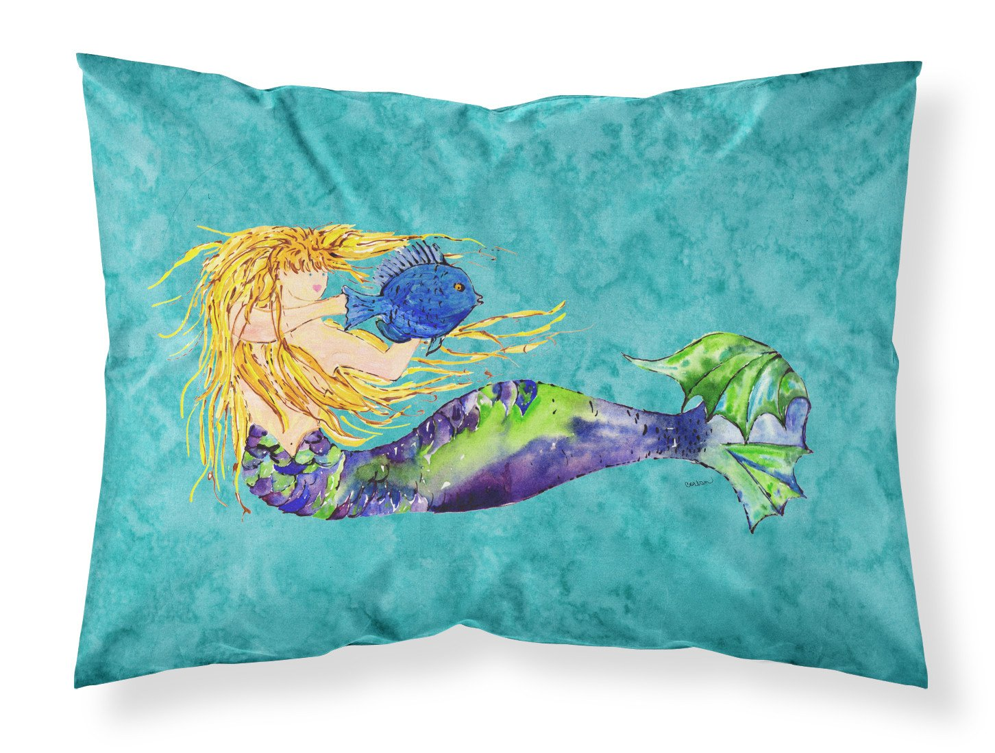 Buy this Blonde Mermaid on Teal Fabric Standard Pillowcase 8724PILLOWCASE