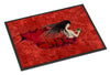 Black Haired Mermaid on Red Indoor or Outdoor Mat 18x27 8726MAT - the-store.com