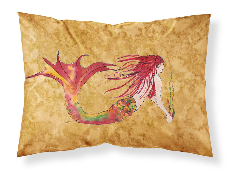 Buy this Ginger Red Headed Mermaid on Gold Fabric Standard Pillowcase 8727PILLOWCASE