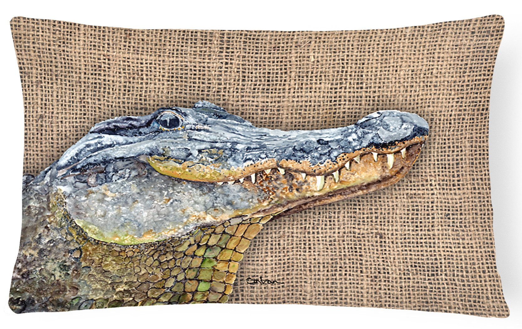 Alligator   Canvas Fabric Decorative Pillow by Caroline's Treasures