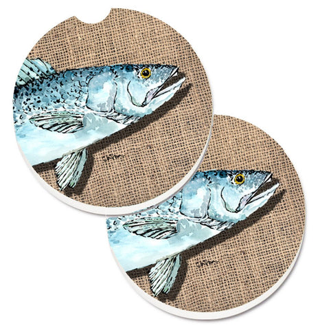 Buy this Fish Speckled Trout Set of 2 Cup Holder Car Coasters 8737CARC