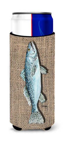 Buy this Fish Speckled Trout  on Faux Burlap Ultra Beverage Insulators for slim cans 8737MUK