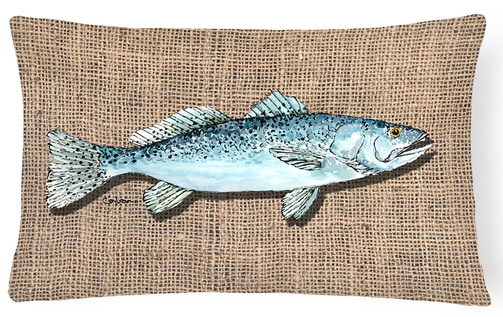 Fish Speckled Trout   Canvas Fabric Decorative Pillow by Caroline's Treasures