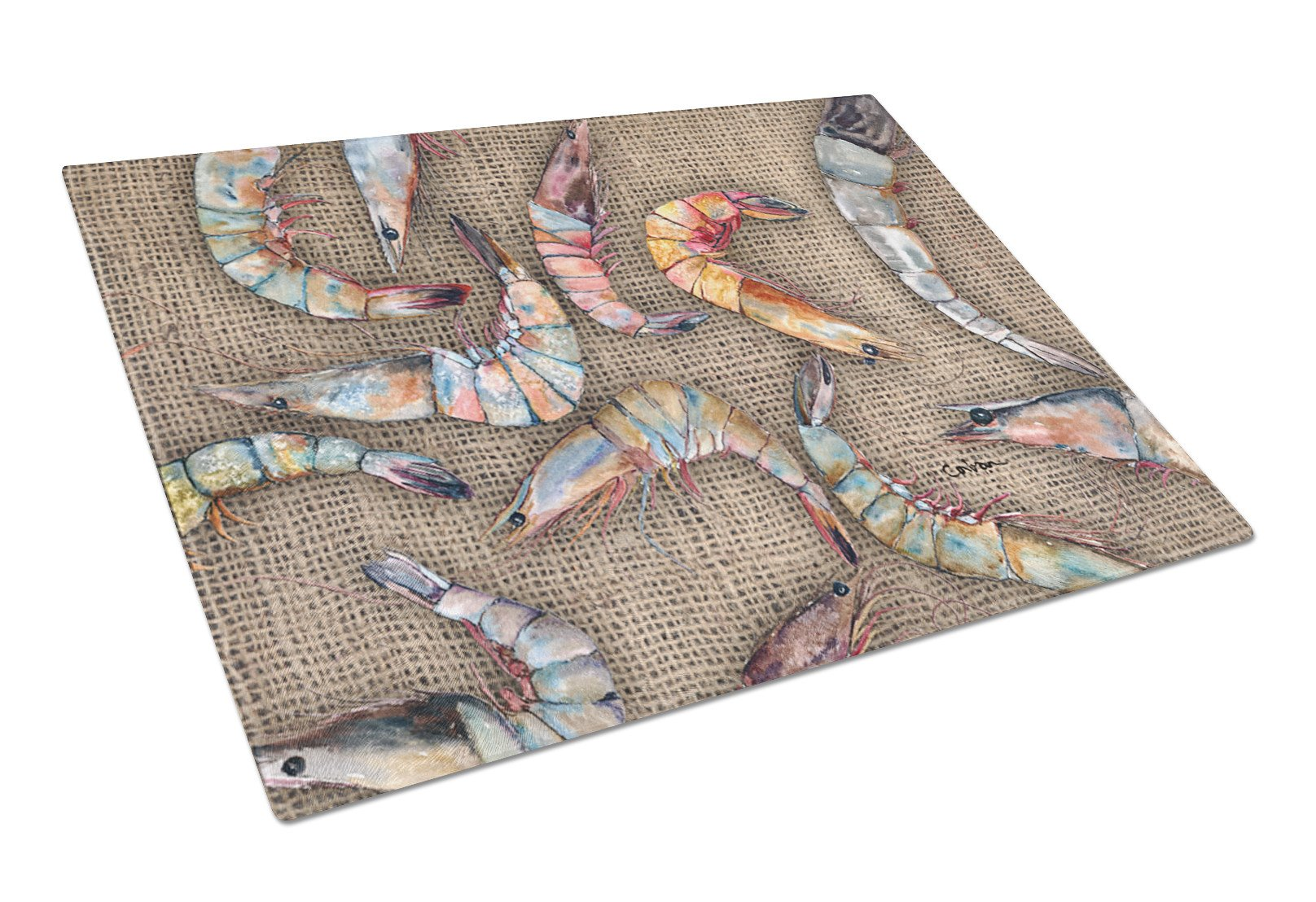 Shrimp  Glass Cutting Board Large by Caroline's Treasures