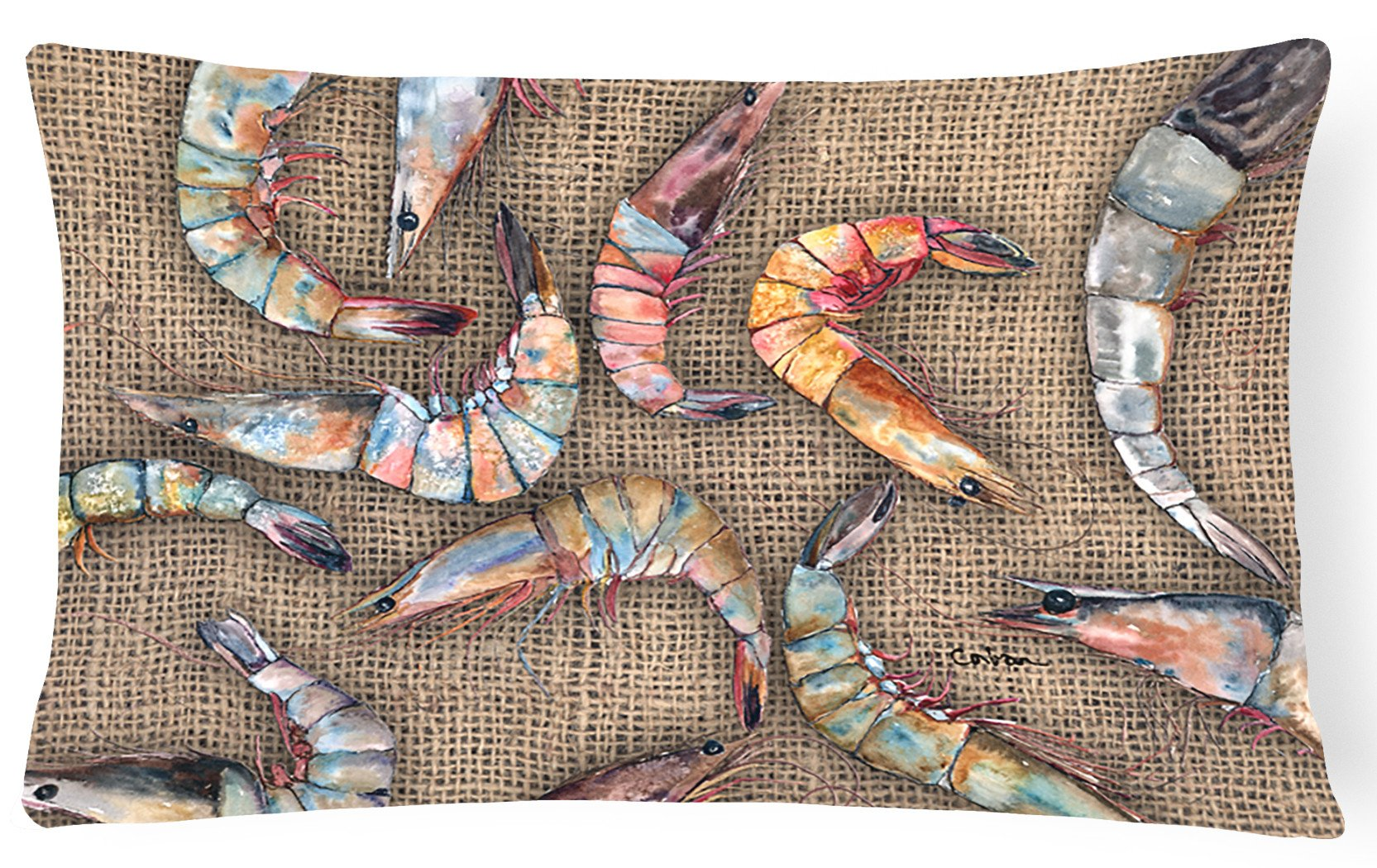 Shrimp   Canvas Fabric Decorative Pillow by Caroline's Treasures