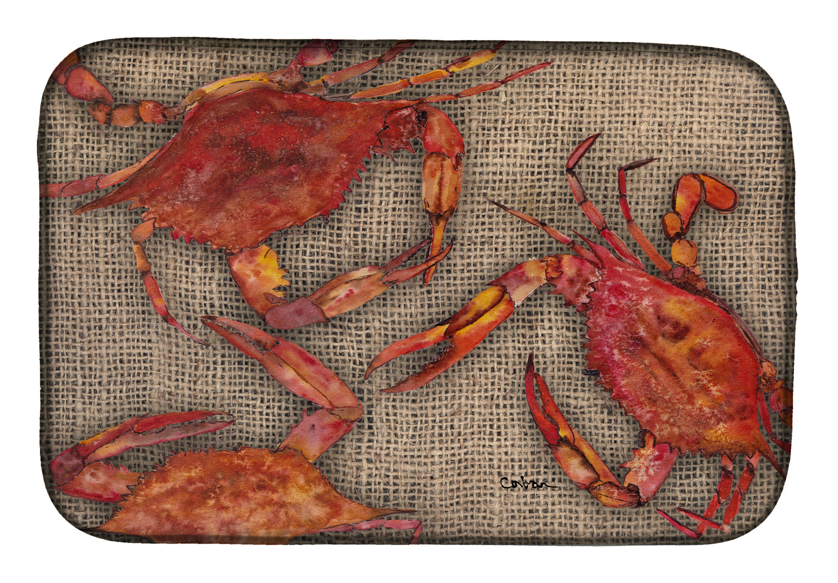 Cooked Crabs on Faux Burlap Dish Drying Mat 8742DDM by Caroline's Treasures