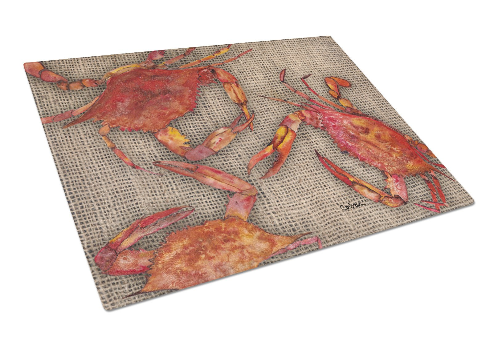 Cooked Crabs on Faux Burlap Glass Cutting Board Large by Caroline's Treasures