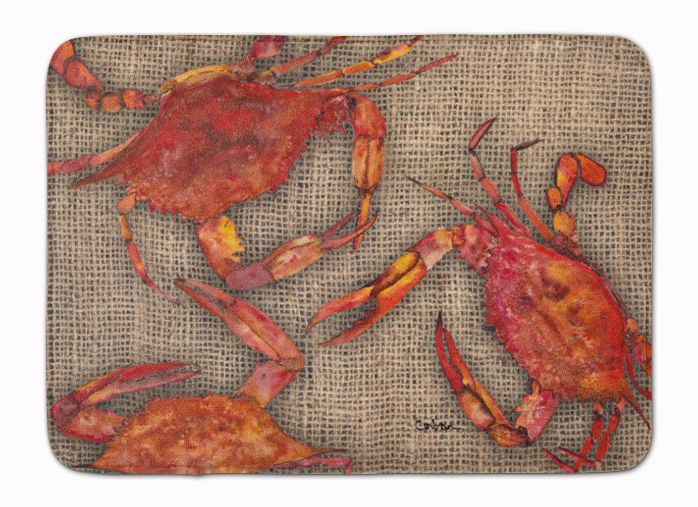 Cooked Crabs on Faux Burlap Machine Washable Memory Foam Mat 8742RUG by Caroline's Treasures