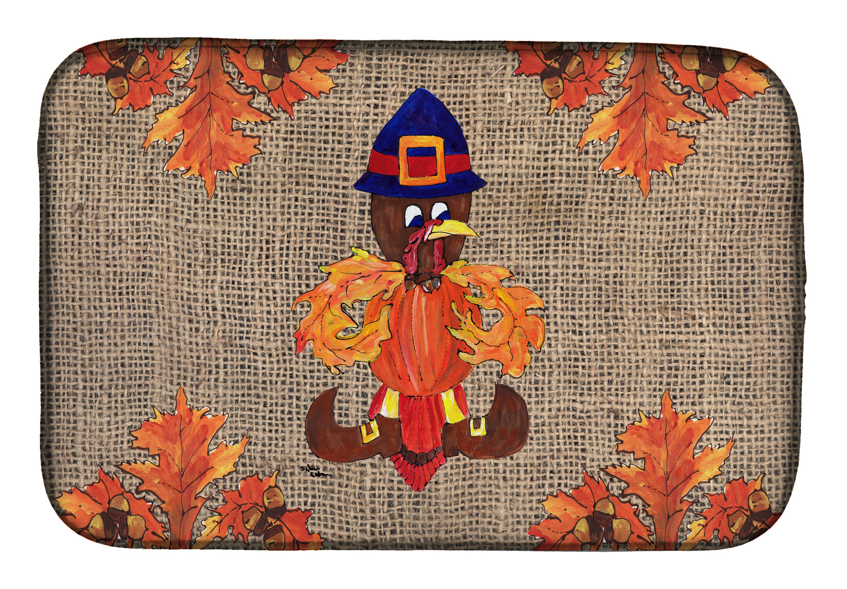 Thanksgiving Turkey Pilgram Fleur de lis Dish Drying Mat 8743DDM by Caroline's Treasures