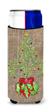 Christmas Tree Fleur de lis on Faux Burlap Ultra Beverage Insulators for slim cans 8745MUK by Caroline's Treasures
