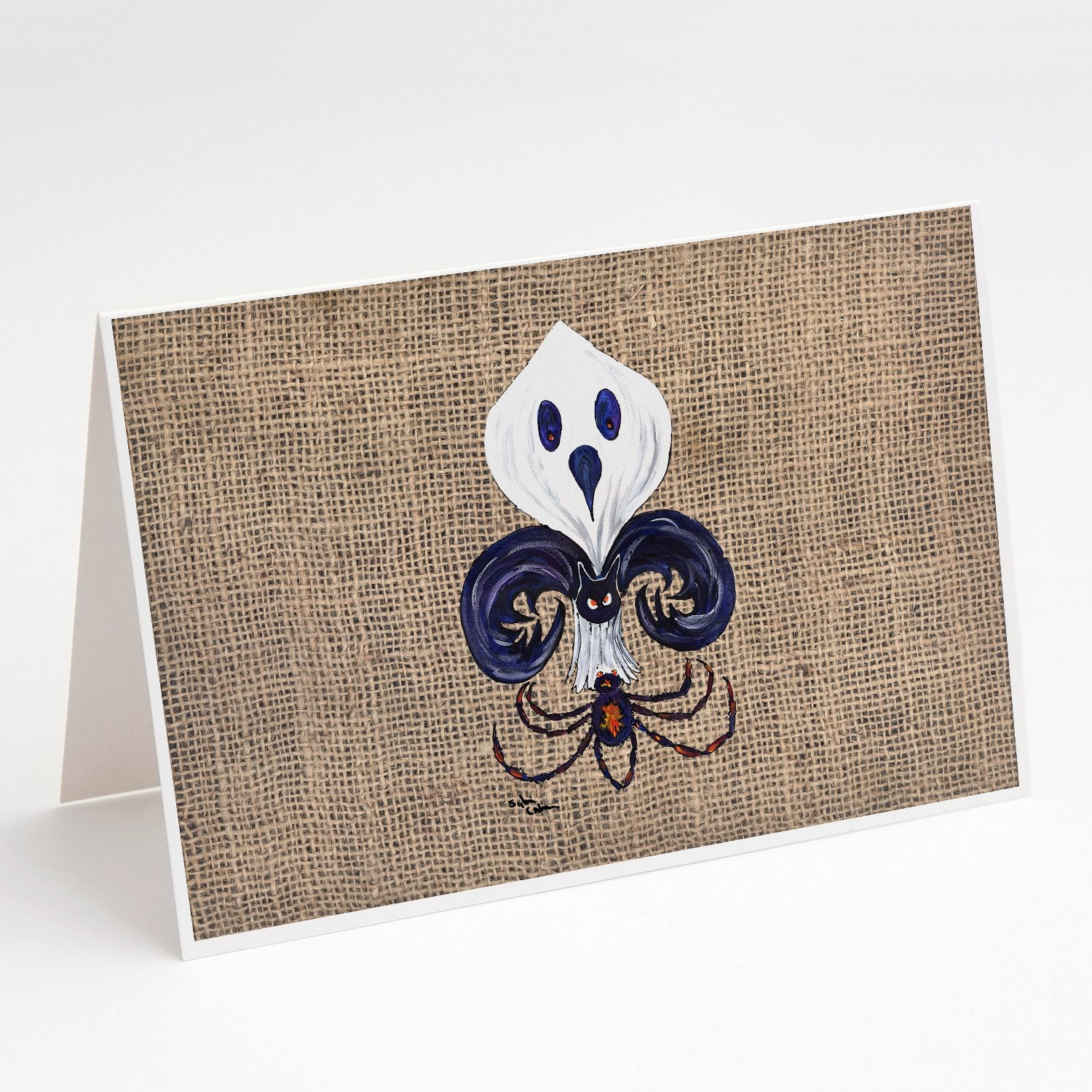 Buy this Halloween Ghost Bat and Spider Fleur de lis on Faux Burlap Greeting Cards and Envelopes Pack of 8