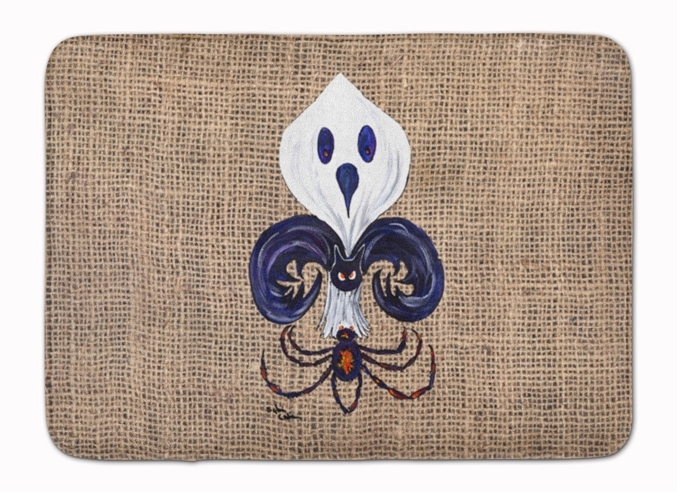 Buy this Halloween Ghost Spider Bat Fleur de lis Machine Washable Memory Foam Mat 8749RUG