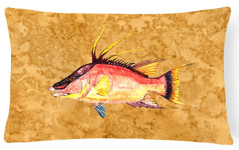 Buy this Hog Snapper on Gold Canvas Fabric Decorative Pillow 8751PW1216