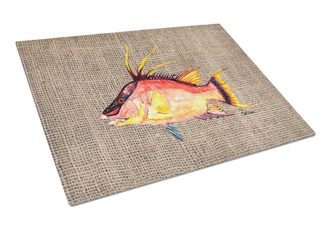 Buy this Hog Snapper on Faux Burlap Glass Cutting Board Large 8753LCB
