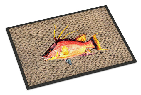 Buy this Hog Snapper on Faux Burlap Indoor or Outdoor Mat 18x27 8753MAT