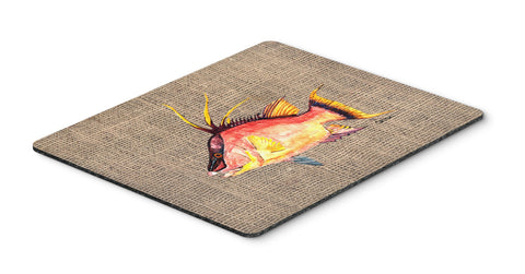Buy this Hog Snapper on Faux Burlap Mouse Pad, Hot Pad or Trivet 8753MP