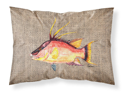 Buy this Hog Snapper on Faux Burlap Fabric Standard Pillowcase 8753PILLOWCASE