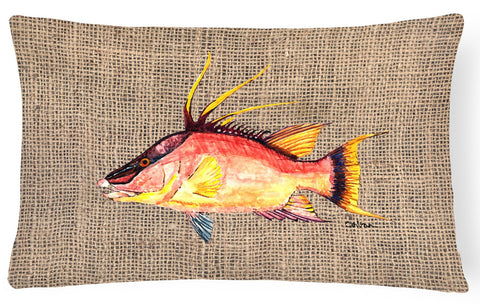 Buy this Hog Snapper on Faux Burlap Canvas Fabric Decorative Pillow 8753PW1216