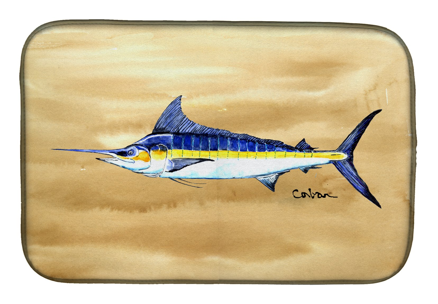 Swordfish on Sandy Beach Dish Drying Mat 8754DDM by Caroline's Treasures