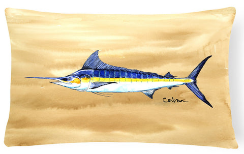 Buy this Swordfish on Sandy Beach Canvas Fabric Decorative Pillow 8754PW1216