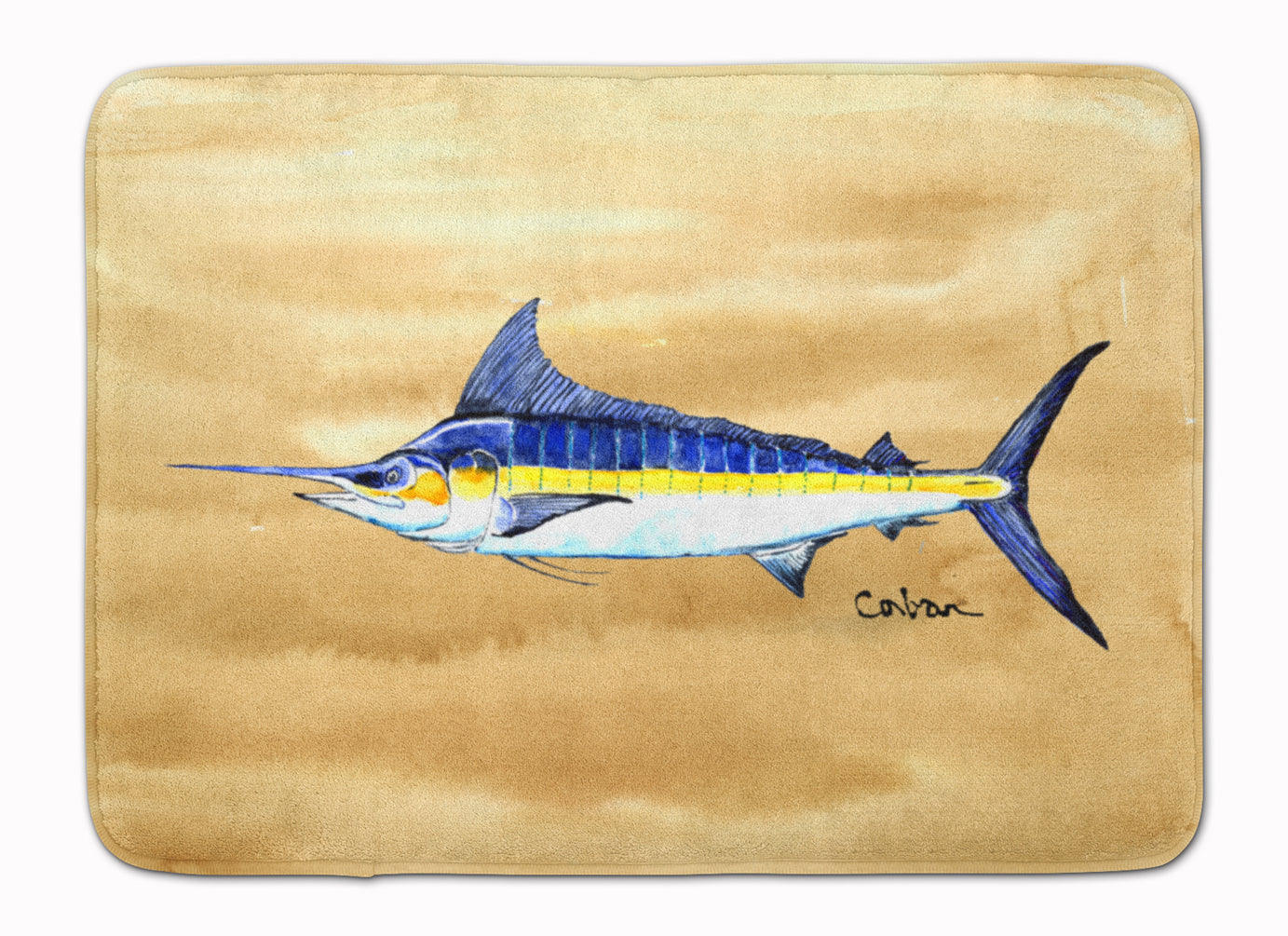 Swordfish on Sandy Beach Machine Washable Memory Foam Mat 8754RUG by Caroline's Treasures