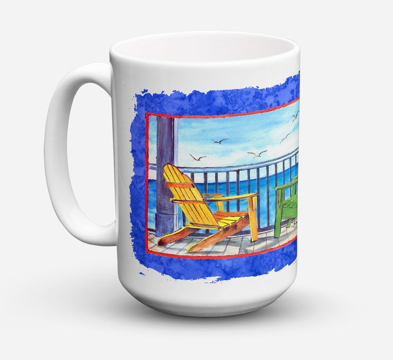 Buy this Adirondack Chairs Blue Dishwasher Safe Microwavable Ceramic Coffee Mug 15 ounce 8767CM15