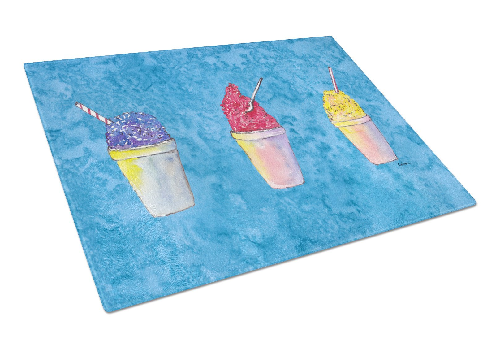 Snowballs Glass Cutting Board Large by Caroline's Treasures