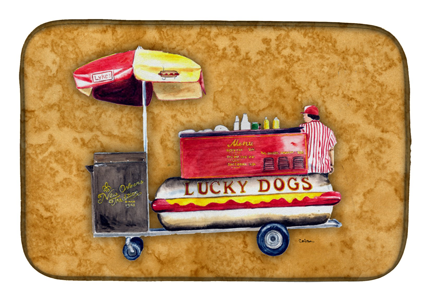 Hot Dog Dish Drying Mat 8781DDM by Caroline's Treasures