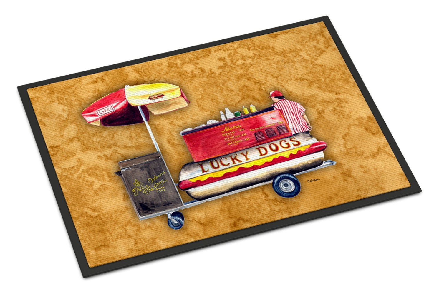 Hot Dog  Indoor or Outdoor Mat 24x36 Doormat by Caroline's Treasures