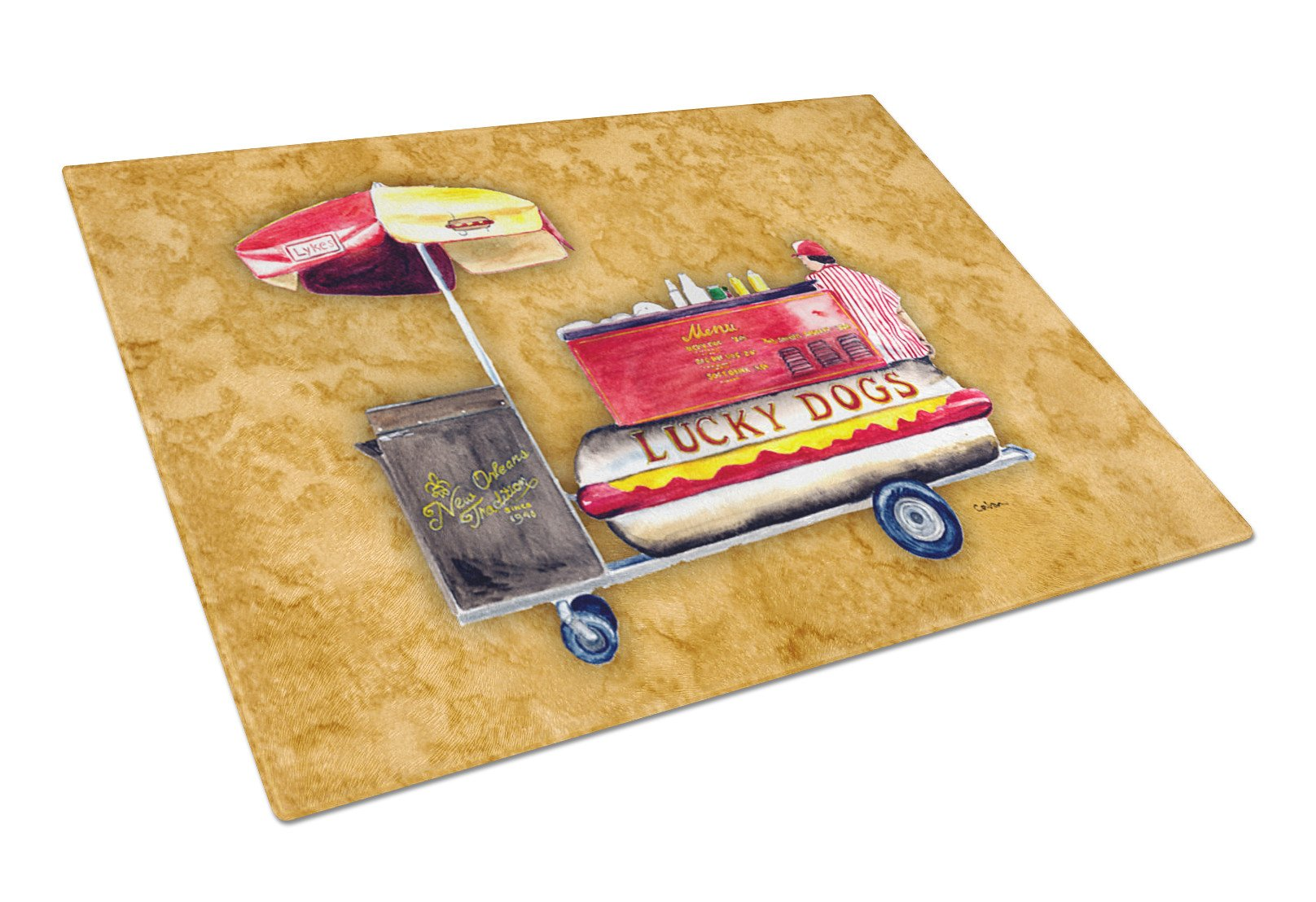 Lucky Dog Hot Dog cart Glass Cutting Board by Caroline's Treasures