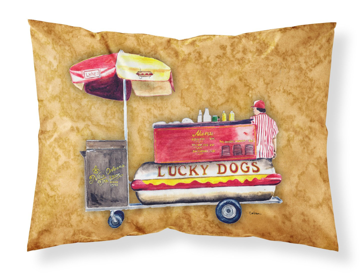 Hot Dog Moisture wicking Fabric standard pillowcase by Caroline's Treasures