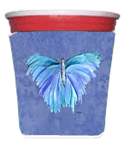 Butterfly on Slate Blue Red Solo Cup Beverage Insulator Hugger by Caroline's Treasures