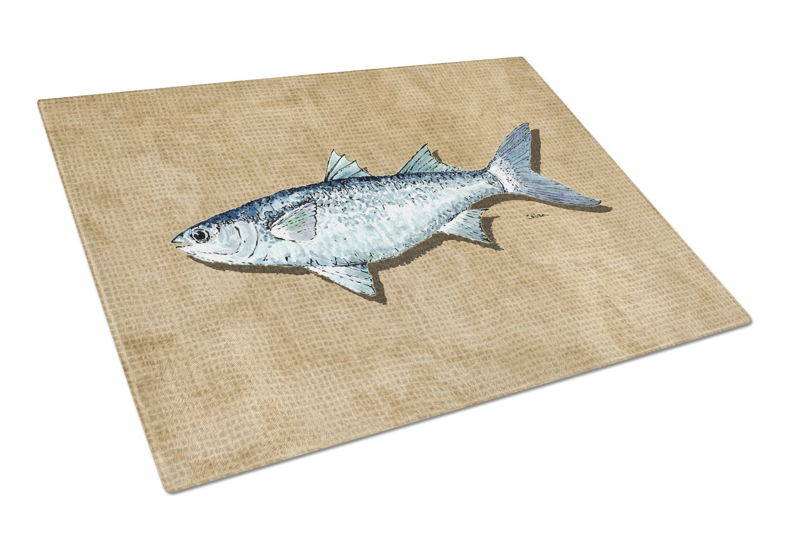 Mullet Glass Cutting Board Large by Caroline's Treasures