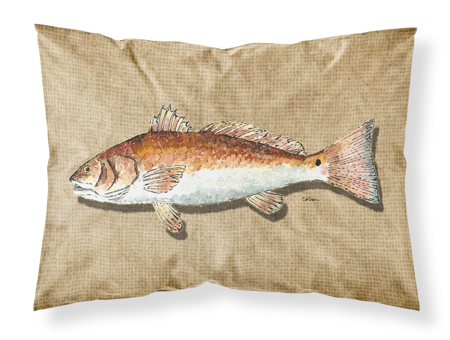 Red Fish Moisture wicking Fabric standard pillowcase by Caroline's Treasures