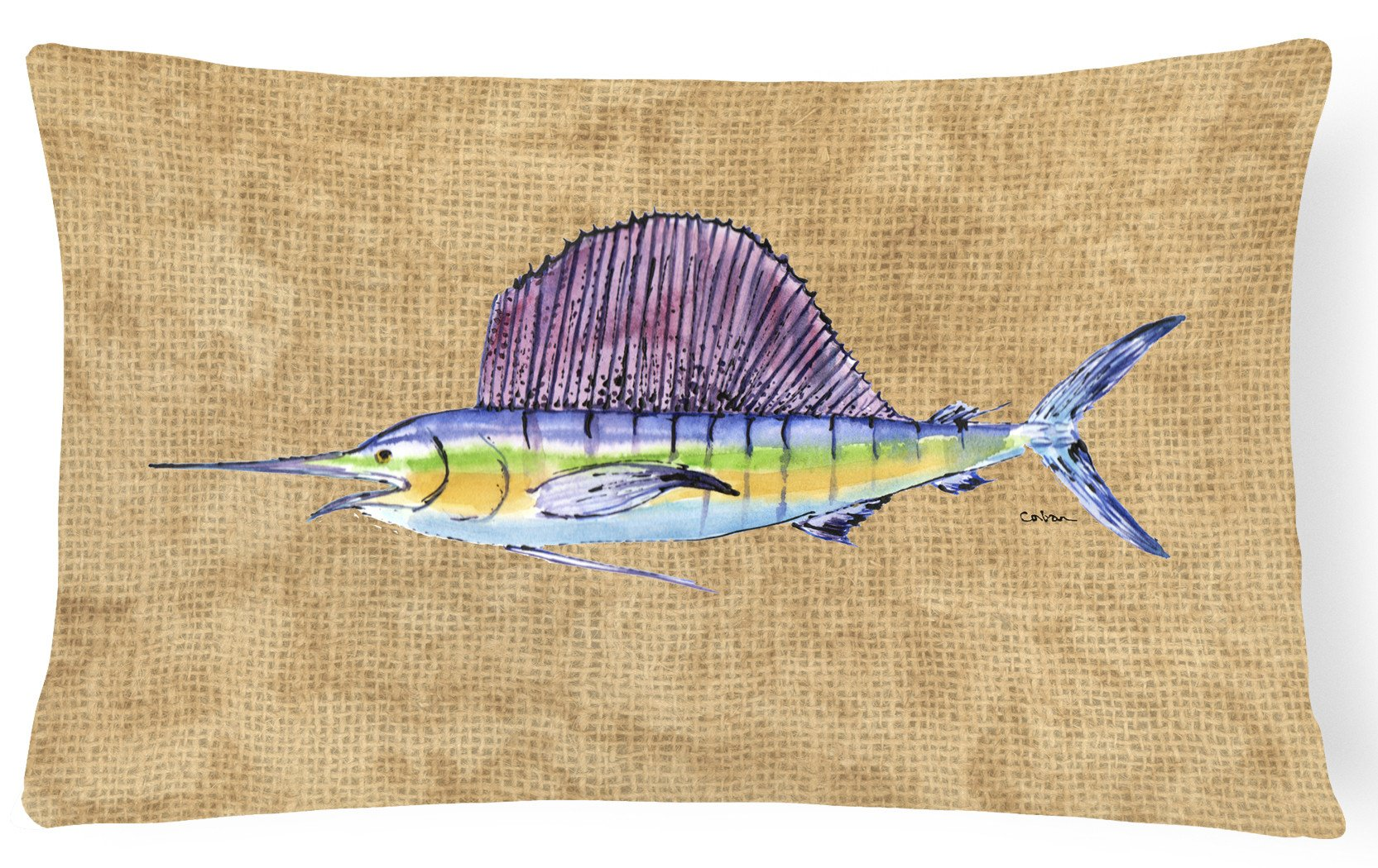 Swordfish   Canvas Fabric Decorative Pillow by Caroline's Treasures