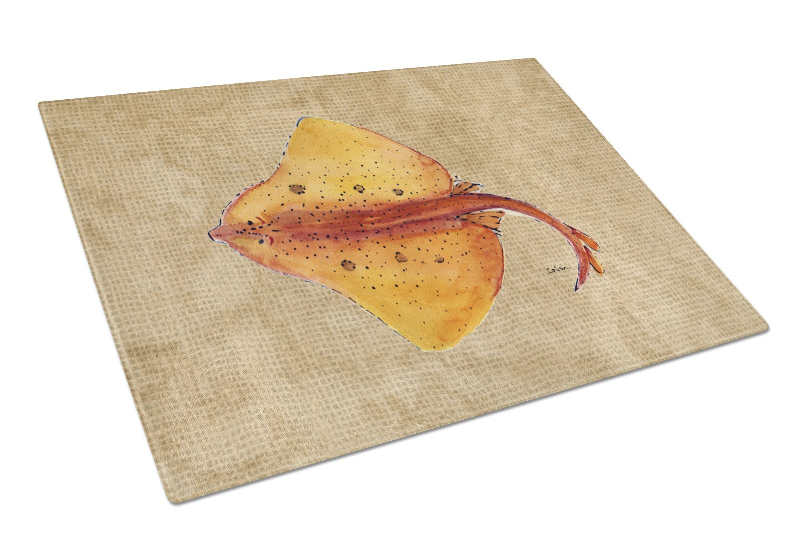 Blonde Ray Stingray Glass Cutting Board Large by Caroline's Treasures