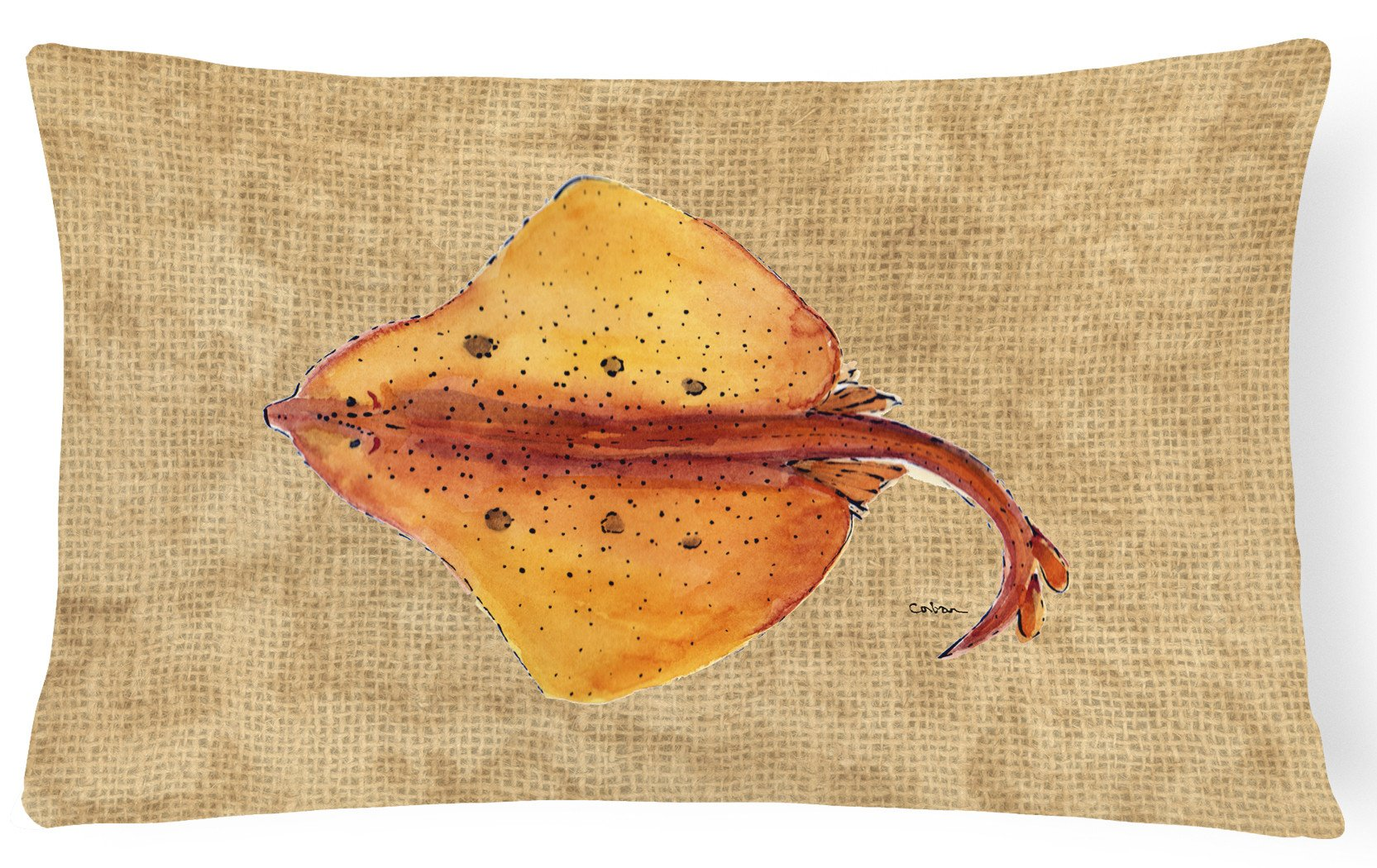 Blonde Ray Stingray   Canvas Fabric Decorative Pillow by Caroline's Treasures