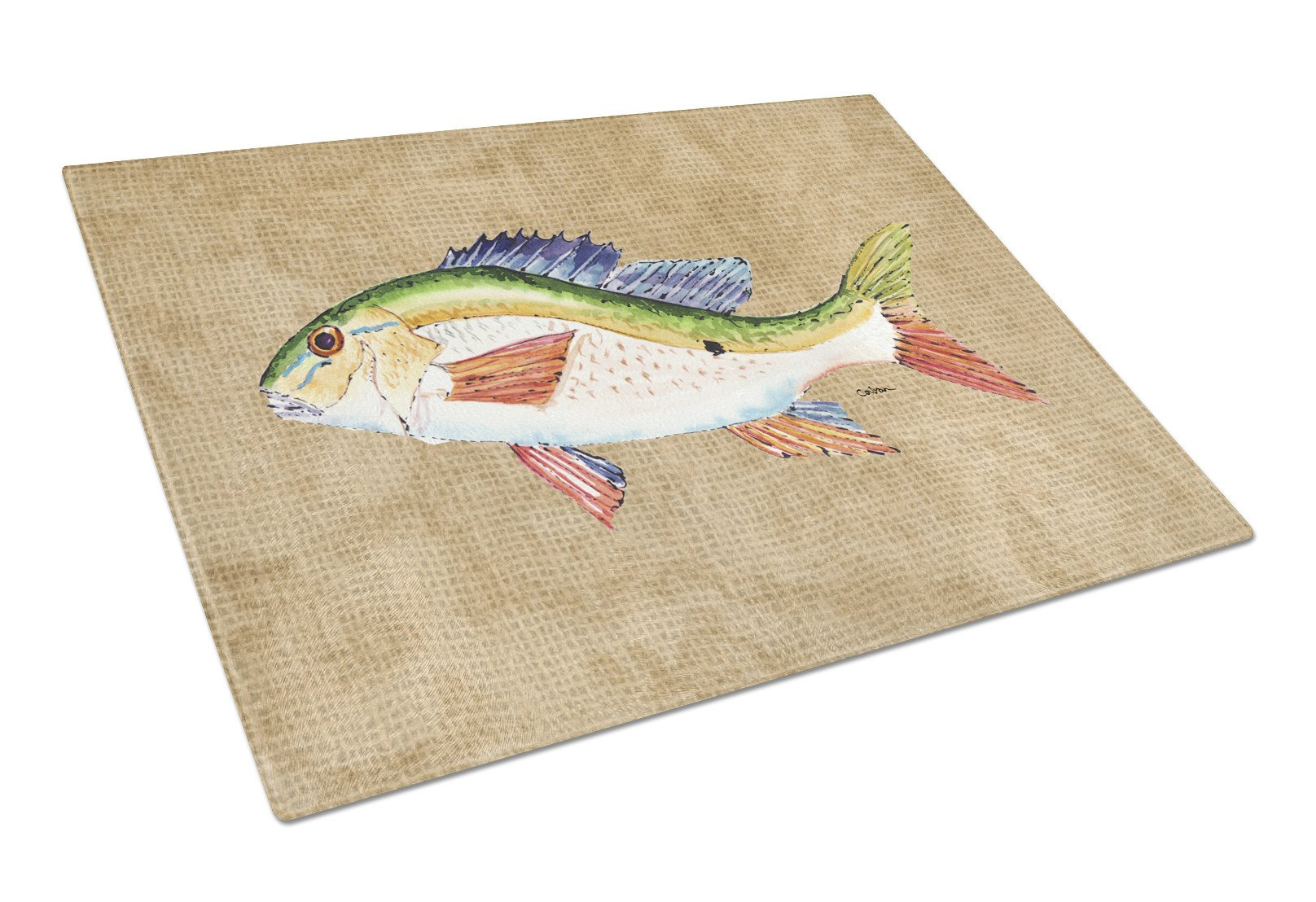 Rainbow Trout Glass Cutting Board Large by Caroline's Treasures