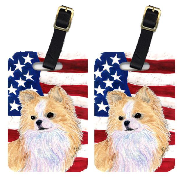 Buy this Pair of USA American Flag with Chihuahua Luggage Tags SS4229BT