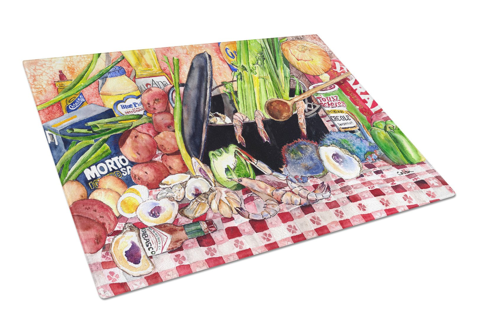 Gumbo and Potato Salad  Glass Cutting Board Large by Caroline's Treasures